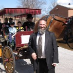 Rabbi Schulman with Horse and Buggy Purim 2012